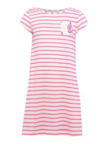 Girls Striped dress with floral contrast pocket