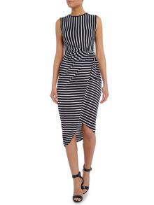 Assymetric Striped Dress with Gathered Side