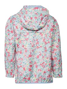 Joules Girls Ditsy print waterproof pack away jacket