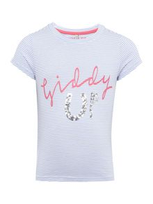 Joules Girls Giddy up striped short sleeved tee
