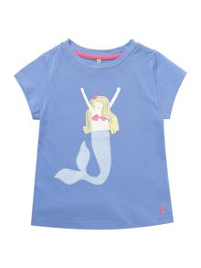 Joules Girls Mermaid graphic tee with glitter
