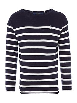 Girls long sleeved breton stripe t-shirt