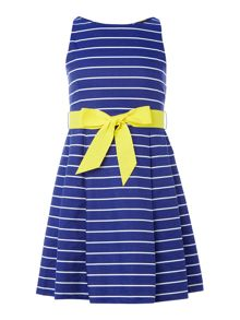 Polo Ralph Lauren Girls sleeveless dress with striped bow waist