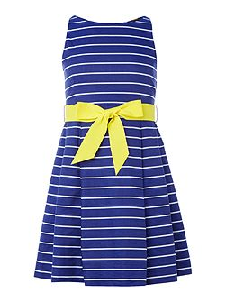 Girls sleeveless dress with striped bow waist