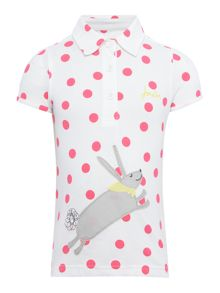 Girls Rabbit applique spotted polo