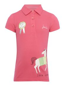 Joules Girls Horse applique short sleeved polo