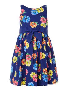 Girls sleeveless dress with bow waist