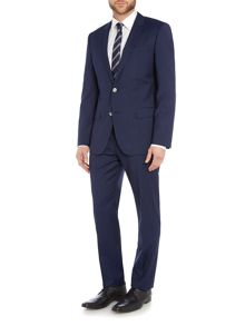 Hugo Boss Single Breasted Hutson Gander Textured Navy Suit