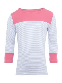 Joules Girls Stripe with contrast pink long sleeved top
