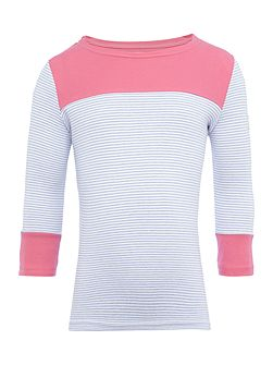 Girls Stripe with contrast pink long sleeved top