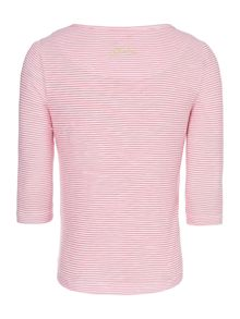 Joules Girls Stripe long sleeved top with corsage