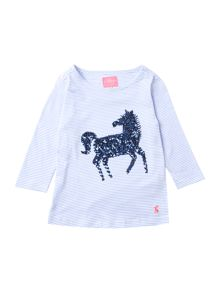 Joules Girls Sequin horse long sleeved top with stripe