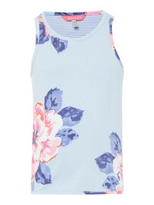Joules Girls Floral vest with striped back