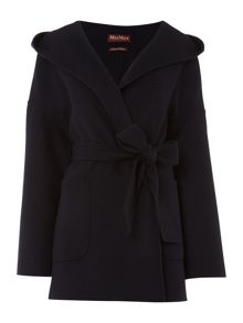 Max Mara Selva virgin wool wrap coat with tie waist