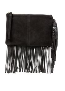Fringed suede clutch