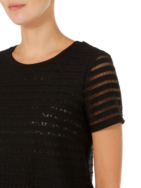 Max Mara Viterbo stripe sheer top with floral lace vest