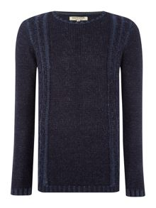 Lemmy crew neck panelled cable jumper