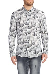 Anerkjendt Florian regular fit mushroom print shirt