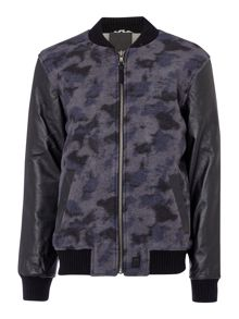 Anerkjendt Willads wool mix leather sleeve bomber jacket
