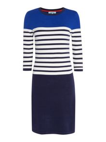 Colour Block Stripe Shift Dress