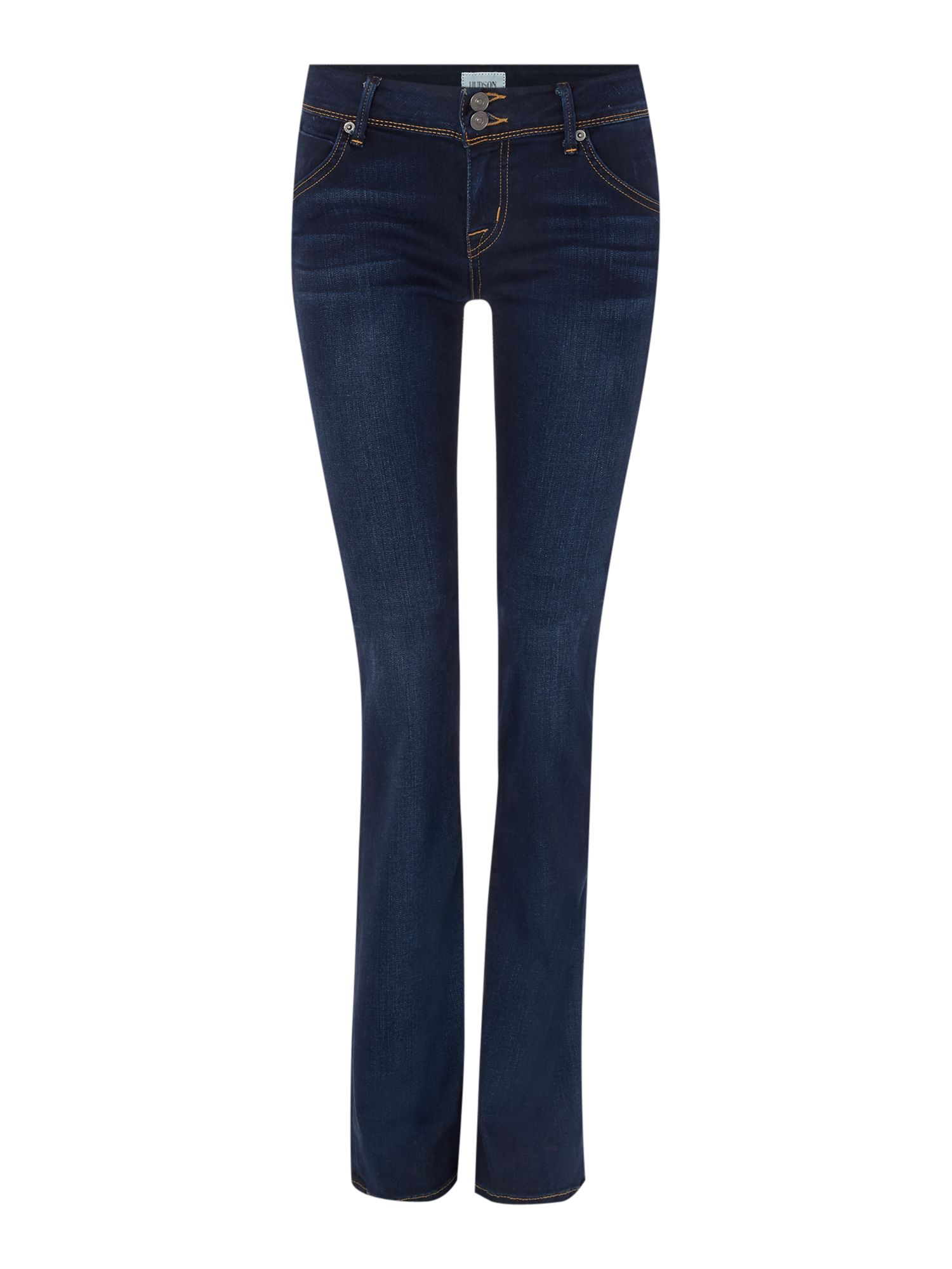 Hudson Jeans Beth mid rise baby bootcut jean in oracle Denim Dark Wash