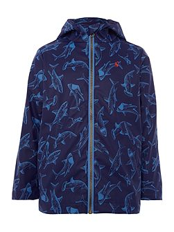 Boys Shark print hooded shower proof jacket