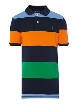 Boys short sleeved polo with small pony player