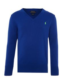 Polo Ralph Lauren Boys v-neck jumper with small pony player