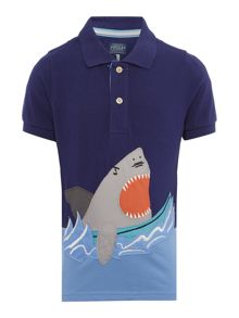 Boys Shark applique polo