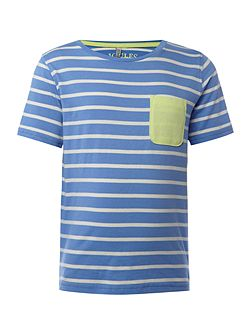 Boys Striped tee with contrast pocket