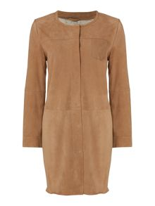 Max Mara Virgola suede collarless coat