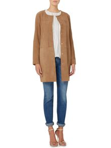 Virgola suede collarless coat