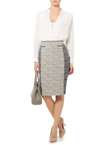 Contrast tweed pencil skirt