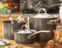 Anolon 3 piece set 16, 18 and 20cm saucepans