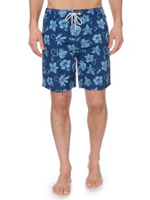 Howick 2 Tone Hawaiian Print Swim Shorts