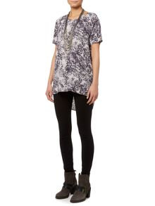Coal print split back blouse