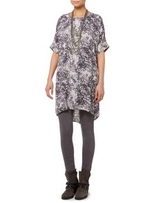 Gray & Willow Coal print tunic dress with tuck