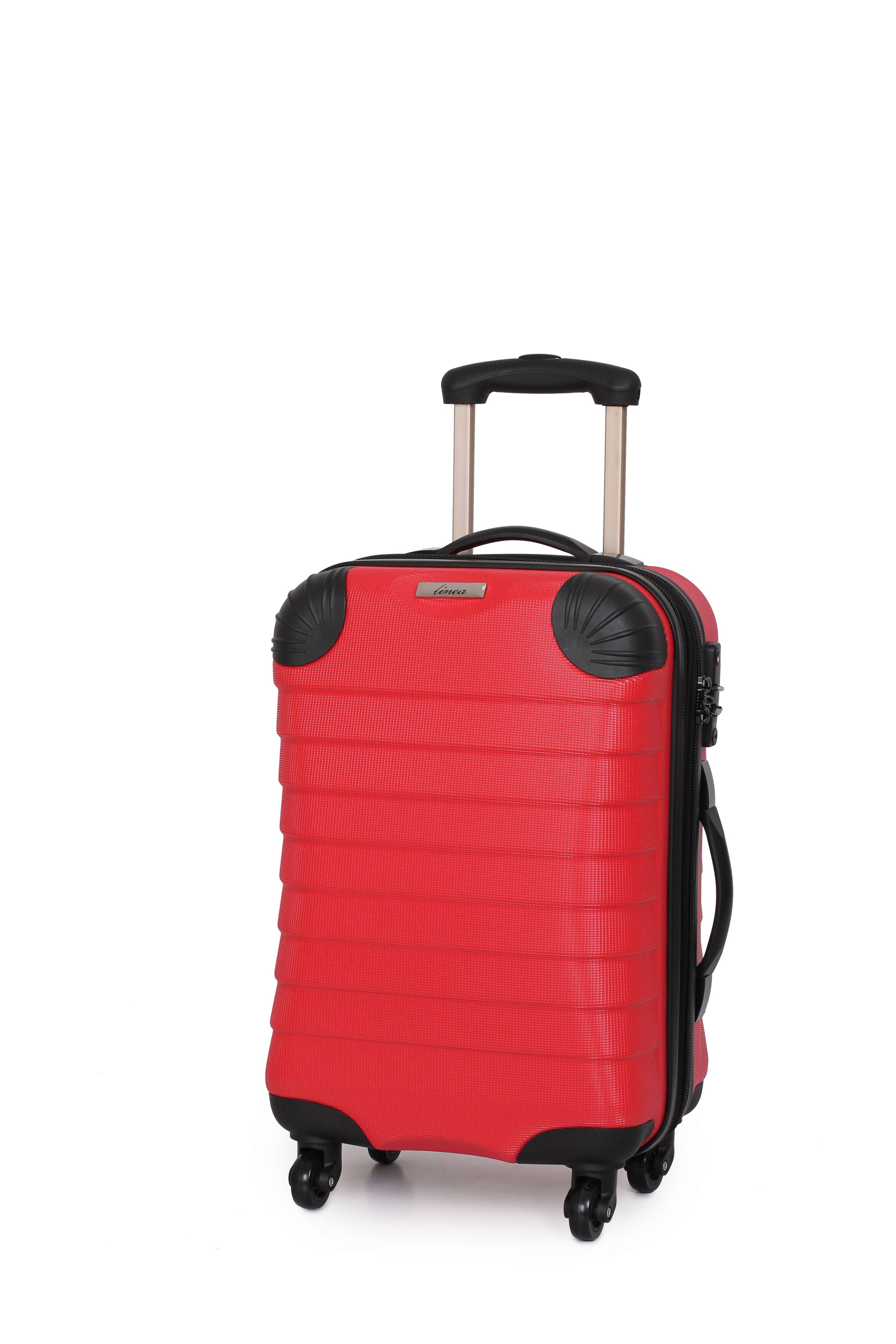 Linea Shell red 4 wheel hard cabin suitcase Red