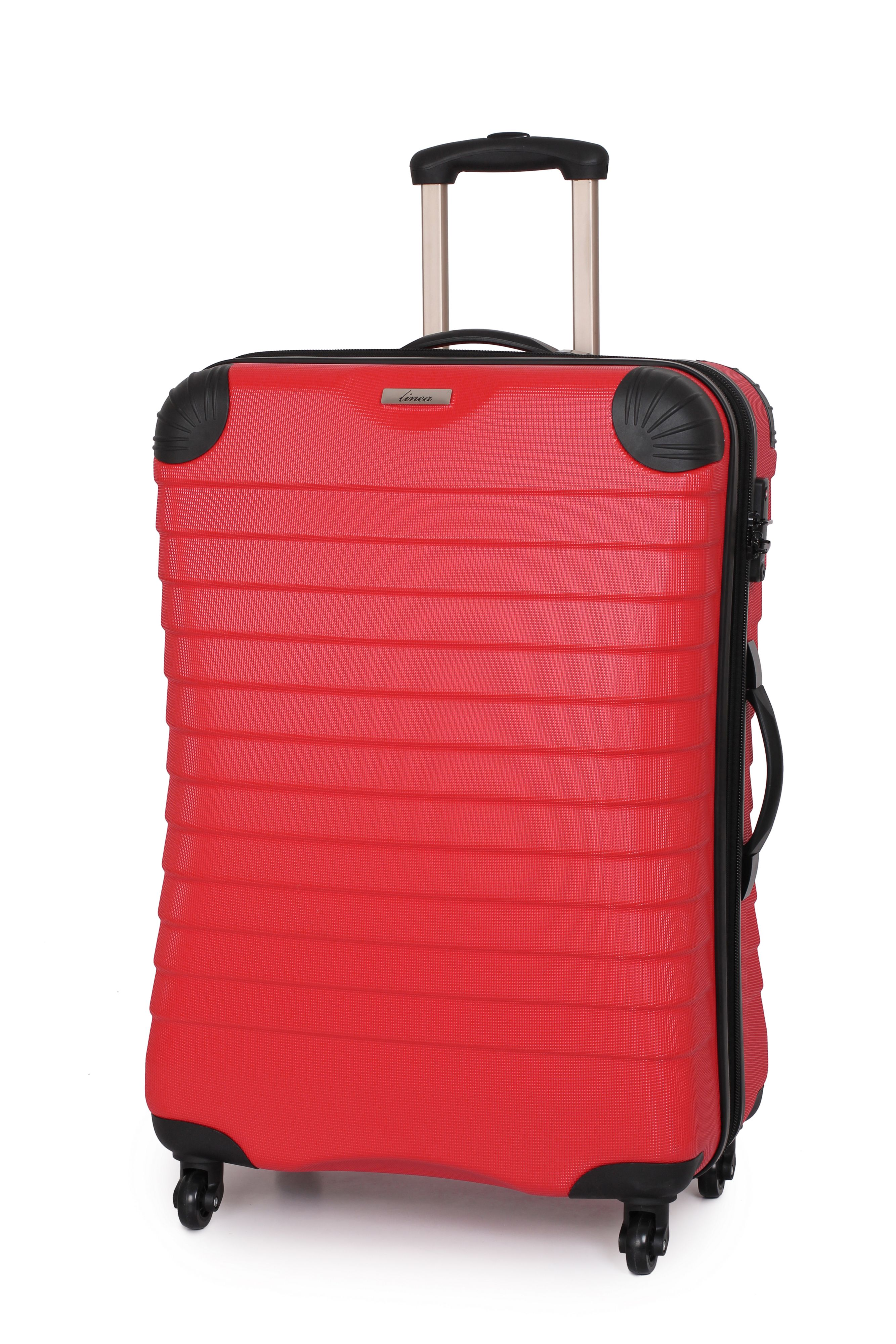 Linea Shell red 4 wheel hard medium suitcase Red