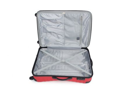 Linea Shell red 4 wheel hard medium suitcase
