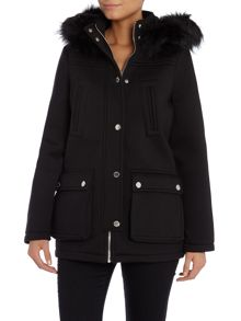 Scuba Parka Coat with a Fur Hood