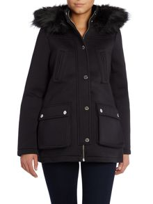 Lipsy Scuba Parka Coat with a Faux Fur Hood