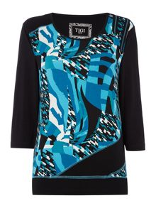 TIGI Three Quarter Sleeve Abstract Print Top