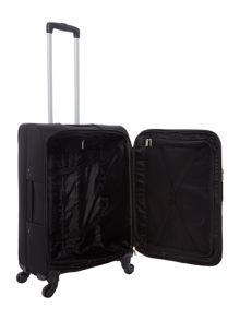 Linea Dartmouth black 4 wheel soft medium suitcase