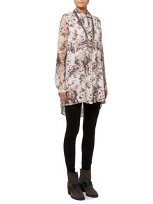 Ash print double layer longline tunic