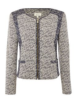 Contrast tweed mix jacket