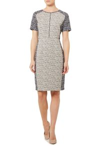 Contrast tweed shift dress
