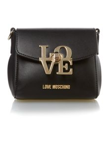 Love Moschino Love lock black small crossbody bag