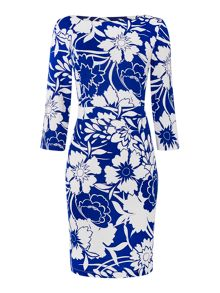 Linea Floral print 3/4 sleeve jersey shift dress
