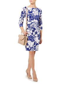 Floral print 3/4 sleeve jersey shift dress